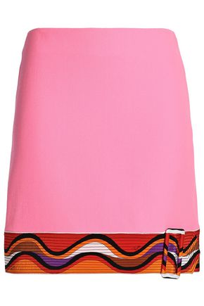 EMILIO PUCCI Buckled wool and silk-blend crepe mini skirt