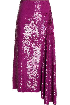 EMILIO PUCCI Draped sequined silk midi skirt