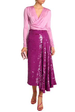 EMILIO PUCCI Draped sequined silk midi skirt