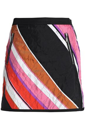 EMILIO PUCCI Printed quilted cotton and silk-blend twill mini skirt