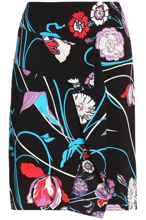 EMILIO PUCCI Wrap-effect floral-print crepe skirt