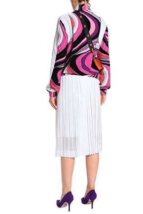EMILIO PUCCI Mesh-paneled pleated stretch-knit skirt