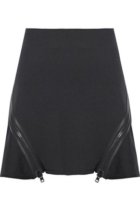OPENING CEREMONY Zip-detailed ribbed-knit mini skirt