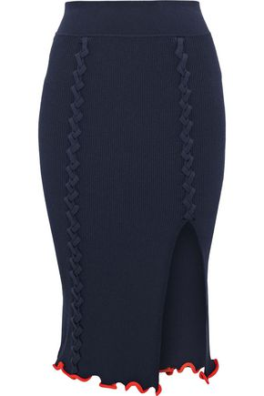 OPENING CEREMONY Split-front lace-up ribbed-knit skirt