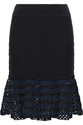 OPENING CEREMONY Open knit-paneled stretch-knit mini skirt