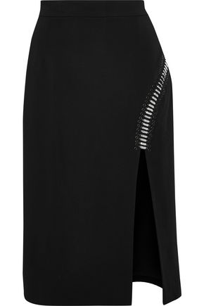 ZUHAIR MURAD Embellished mesh-trimmed silk-blend skirt