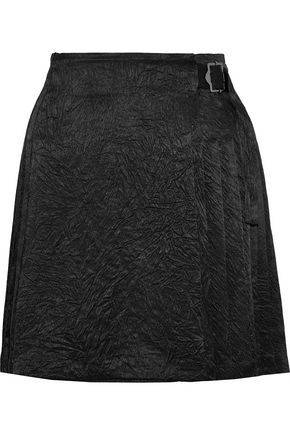 OPENING CEREMONY Pleated crinkled-satin wrap mini skirt