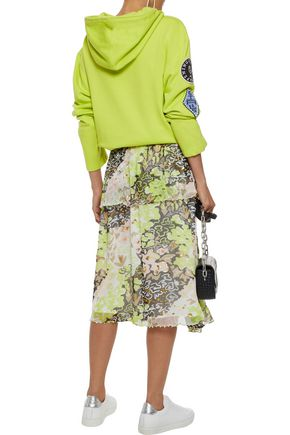 OPENING CEREMONY Faux pearl-embellished floral-print georgette midi skirt