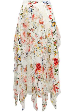 ALICE + OLIVIA Yula ruffled floral-print silk-chiffon midi skirt