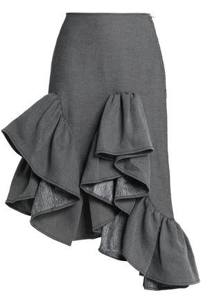 MARQUES' ALMEIDA Ruffled asymmetric cotton-blend twill skirt