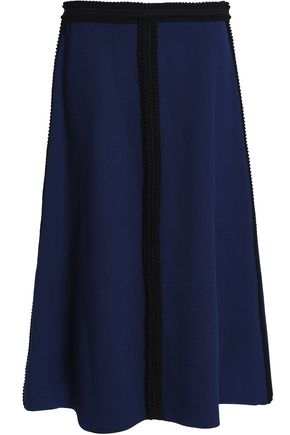 AGNONA Wool and silk-blend crepe midi skirt