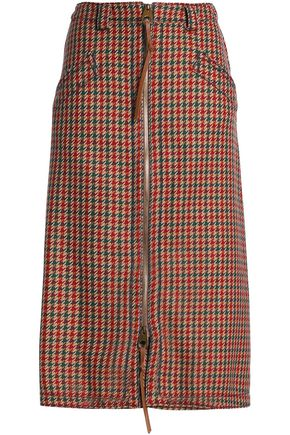 AGNONA Leather-trimmed houndstooth wool skirt