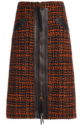 AGNONA Leather-trimmed wool-blend tweed skirt