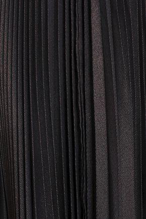 REEM ACRA Pleated lamé maxi skirt