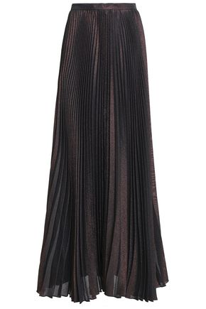 REEM ACRA Pleated lamé maxi skirt