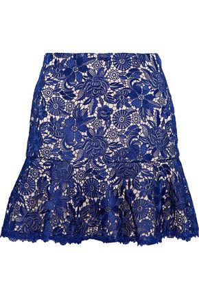 ALICE + OLIVIA Delma fluted guipure lace mini skirt