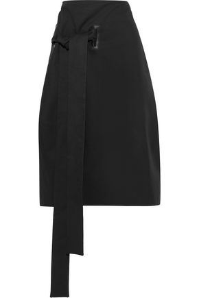 MARNI Tie-front cotton and wool-blend twill skirt