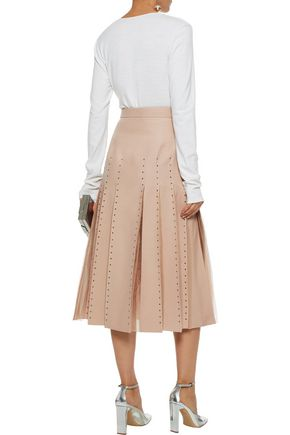 VALENTINO Tulle-trimmed pleated wool and silk-blend midi skirt