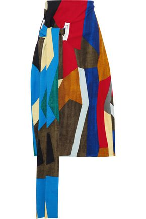 MARNI Tie-front patchwork-effect printed wool-blend twill skirt