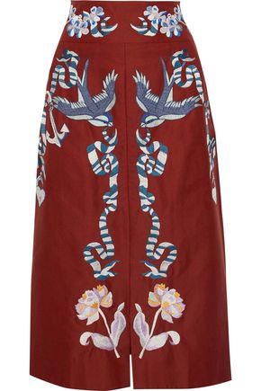 TEMPERLEY LONDON Sailor embroidered cotton and silk-blend faille midi skirt