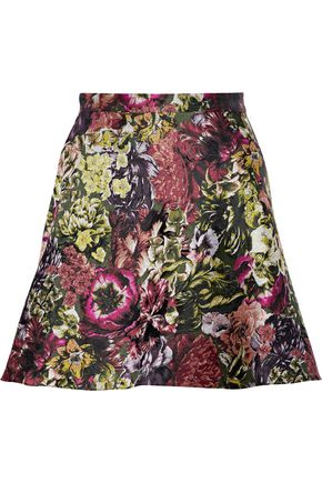 VALENTINO Silk-blend floral-jacquard mini skirt