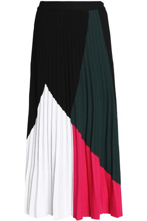 PROENZA SCHOULER Pleated color-block silk-blend midi skirt