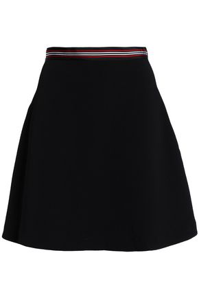 SANDRO Flared grosgrain-trimmed woven mini skirt
