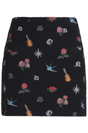 SANDRO Cotton-blend jacquard mini skirt