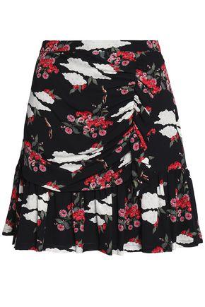 MOTHER OF PEARL Ruffled printed silk-georgette mini skirt
