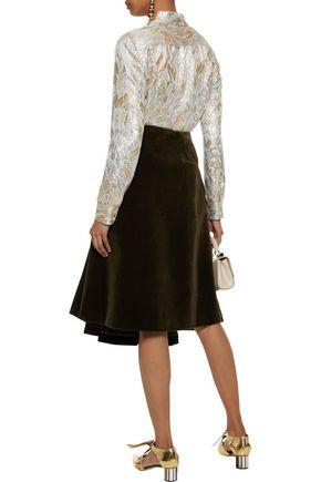 SIMONE ROCHA Pleated cotton-blend velvet skirt