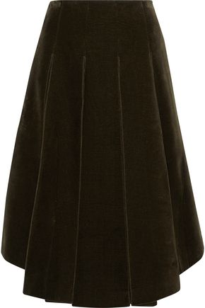 SIMONE ROCHA Pleated cotton-blend velvet skirt