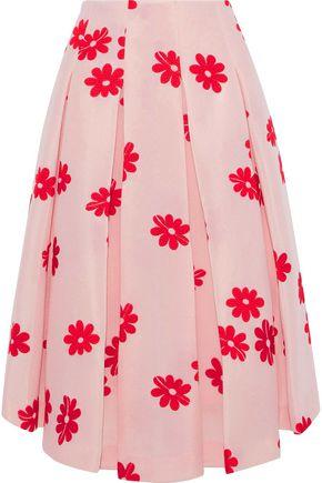 SIMONE ROCHA Embroidered pleated neoprene midi skirt