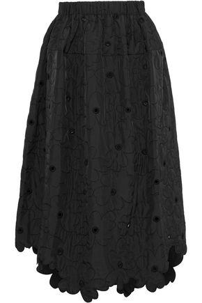 SIMONE ROCHA Eyelet-embellished embroidered shell midi skirt