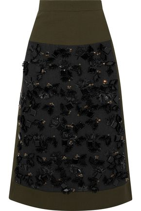 MARNI Embellished crepe-paneled wool and cotton-blend skirt
