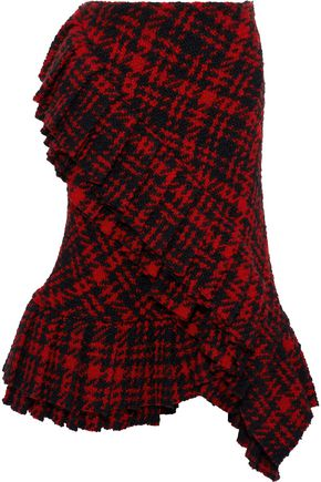 MARNI Wrap-effect checked wool-blend tweed skirt