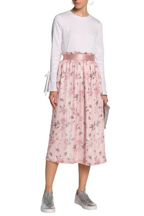 MOTHER OF PEARL Lamé-trimmed floral-print georgette midi skirt