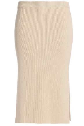 AGNONA Ribbed wool and cashmere-blend skirt