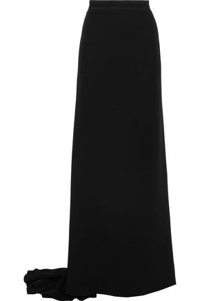 CAROLINA HERRERA Grosgrain-trimmed silk crepe de chine maxi skirt