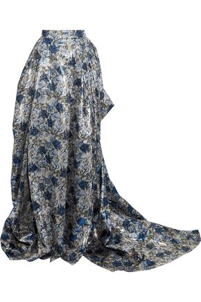 CAROLINA HERRERA Draped pleated brocade maxi skirt