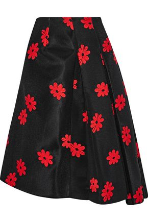 SIMONE ROCHA Asymmetric pleated embroidered neoprene skirt