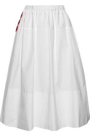 SIMONE ROCHA Bead-embellished cotton-poplin skirt