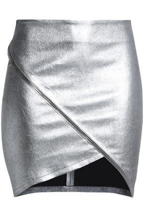 RTA Zip-detailed metallic leather mini skirt