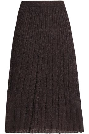 M MISSONI Pleated metallic crochet-knit midi skirt
