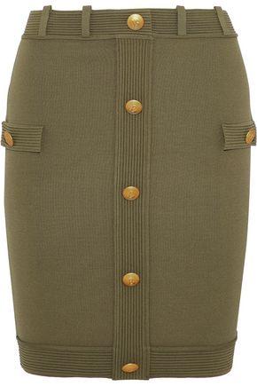 PIERRE BALMAIN Button-embellished stretch-knit mini skirt