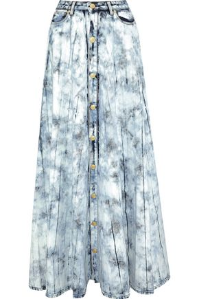 PIERRE BALMAIN Button-detailed bleached denim maxi skirt