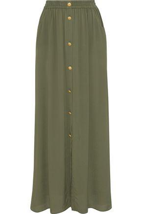 PIERRE BALMAIN Gathered crepe de chine maxi skirt