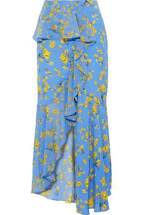 GOEN.J Ruffled chiffon-paneled floral-print crepe de chine midi skirt