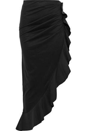 GOEN.J Asymmetric ruffle-trimmed cotton-poplin midi skirt
