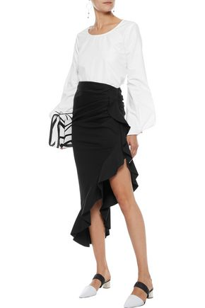 Asymmetric Ruffle Trimmed Cotton Poplin Midi Skirt by Goen.J