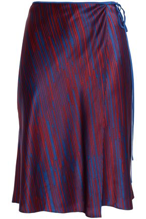 DIANE VON FURSTENBERG Striped silk-satin wrap skirt